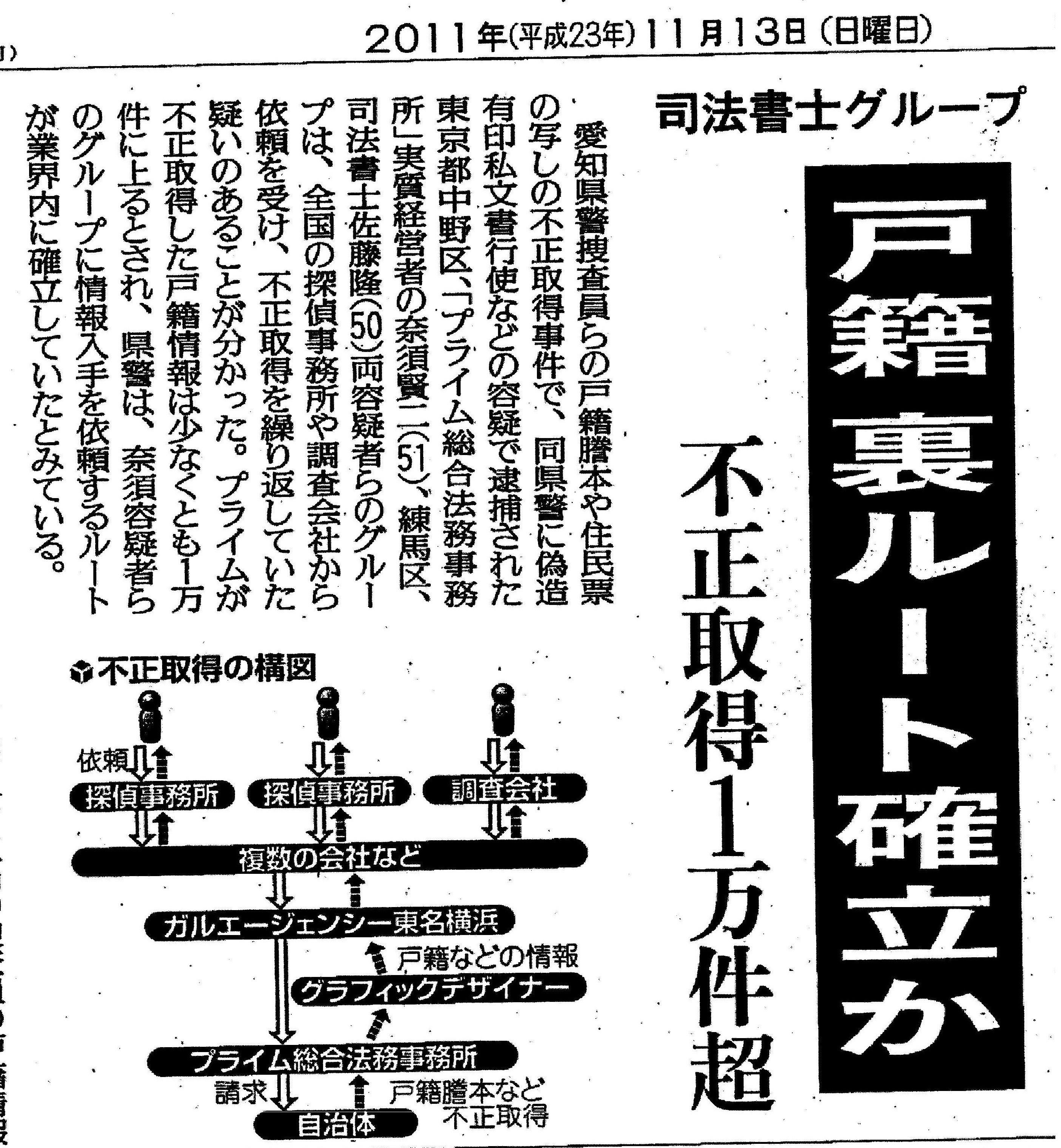 2011年11月13日 読売新聞